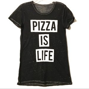Fifth Sun Pizza is Life black white graphic tee XS